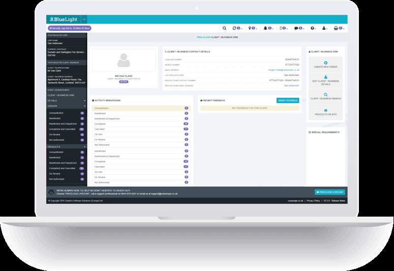 client relationship management laptop screenshot