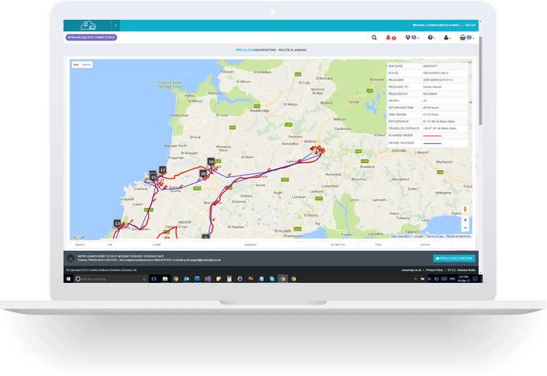 route optimisation laptop screenshot