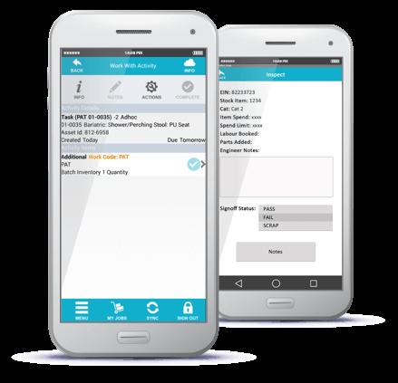 tasks and servicing mobile screenshot