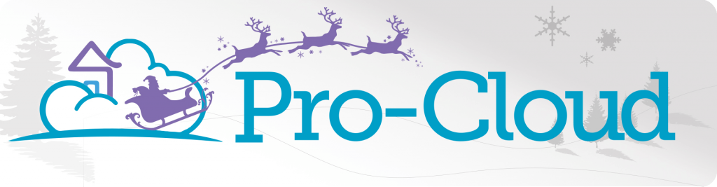 pro-cloud logo with santa's sleigh and reindeer