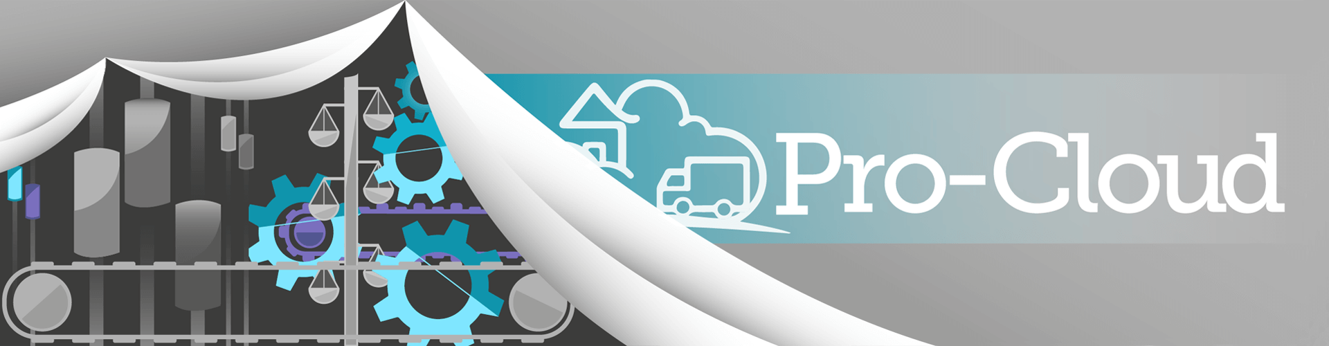 the pro-cloud logo revealing machinery behind a curtain