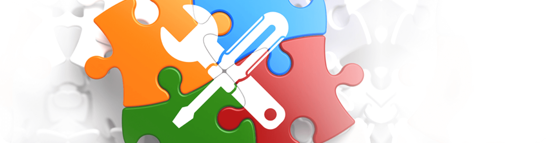 tools icon over jigsaw pieces