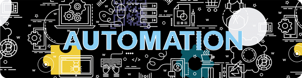 the word automation surrounded by device illustrations