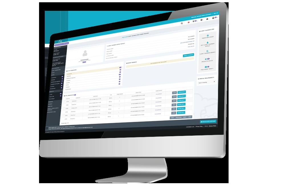 client relationship management desktop computer screenshot