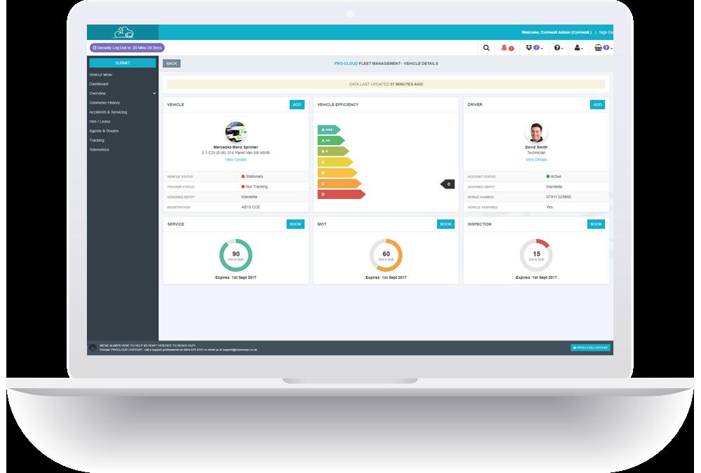 fleet management laptop screenshot
