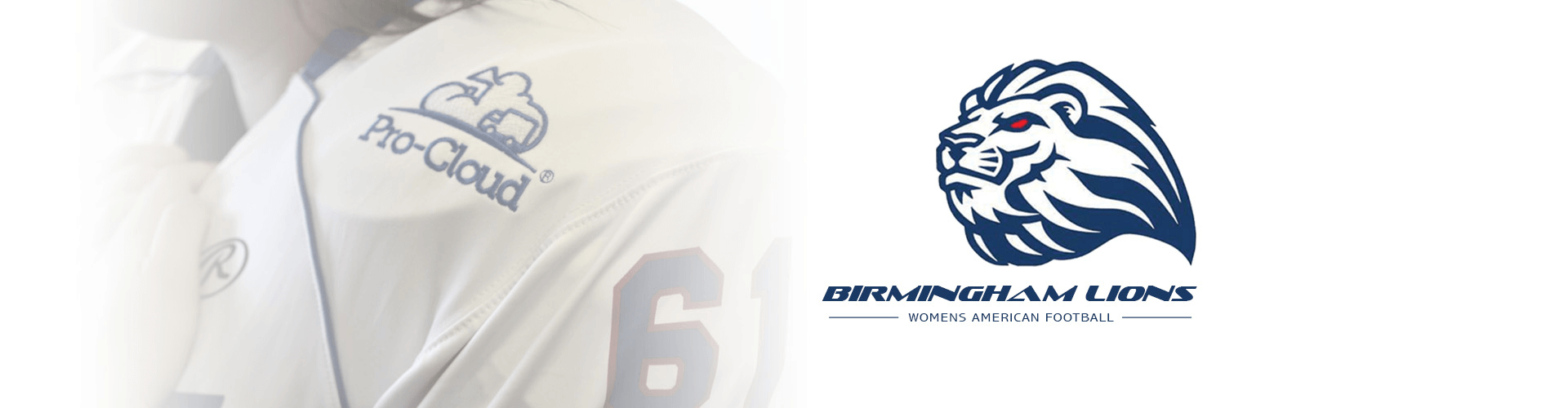 birmingham lions womens american football team logo with sponsor jersey
