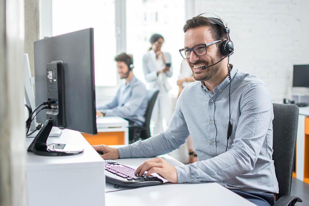 Smiling customer support operator