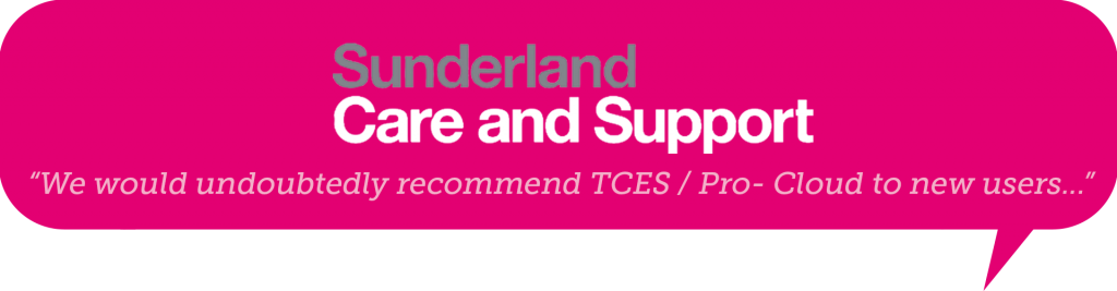 sunderland care and support logo in a speech bubble