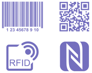 barcode, qr code, rfid and nfc labelling icons