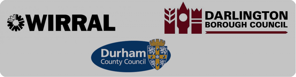 wirral, darlington borough council, durham county council logos