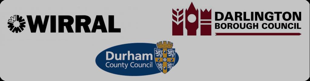 wirral, darlington borough council, durham county council logos