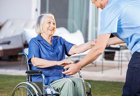 elderly female wheelchair user