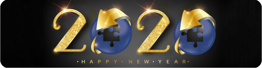 gold sparkling 2020 happy new year banner