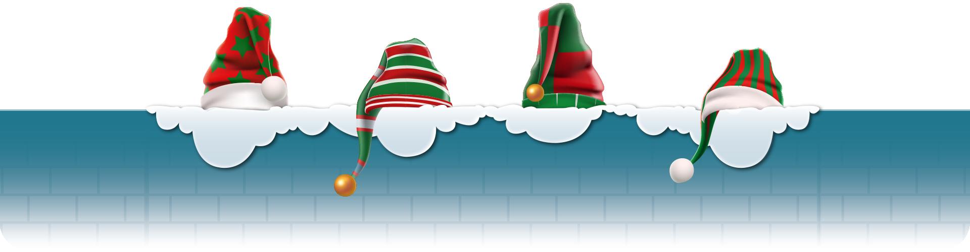 elf hats on snowy wall