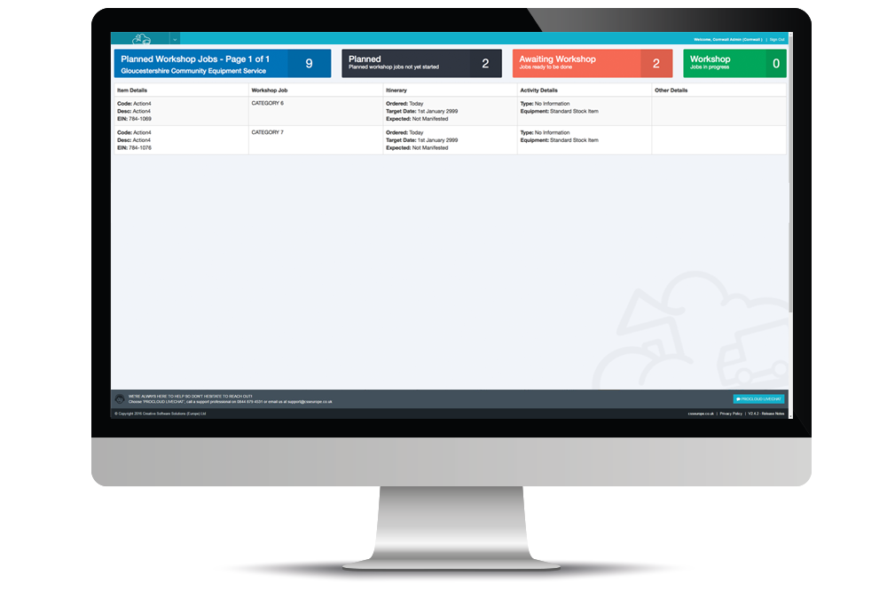 workshop software screen in desktop computer