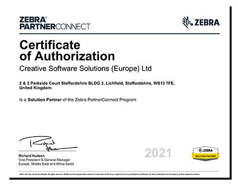 Zebra Solution Partner Certificate