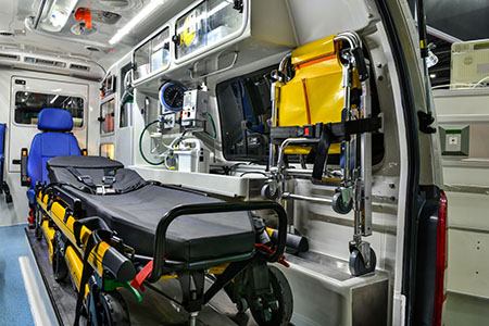 emergency equipment in the back of an ambulance