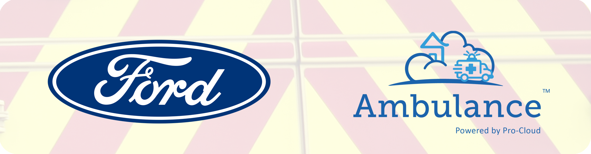 ford and pro-cloud ambulance logos on emergency stripes